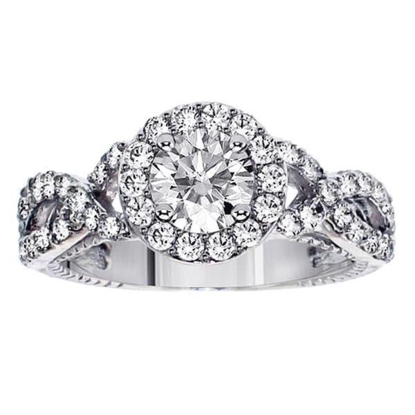 14k Gold 2ct TDW Clarity Enhanced Diamond Braided Halo Engagement Ring (F-G, SI1-SI2)
