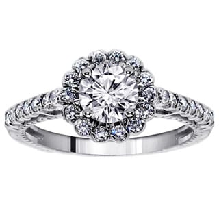 14k White Gold 1 5/8 Ct TDW Halo Round Diamond Engagement Ring (F-G, SI1-SI2)
