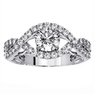 14k White Gold 1 7/8ct TDW Clarity Enhanced Round Braided Diamond Ring (F-G, SI1-SI2)