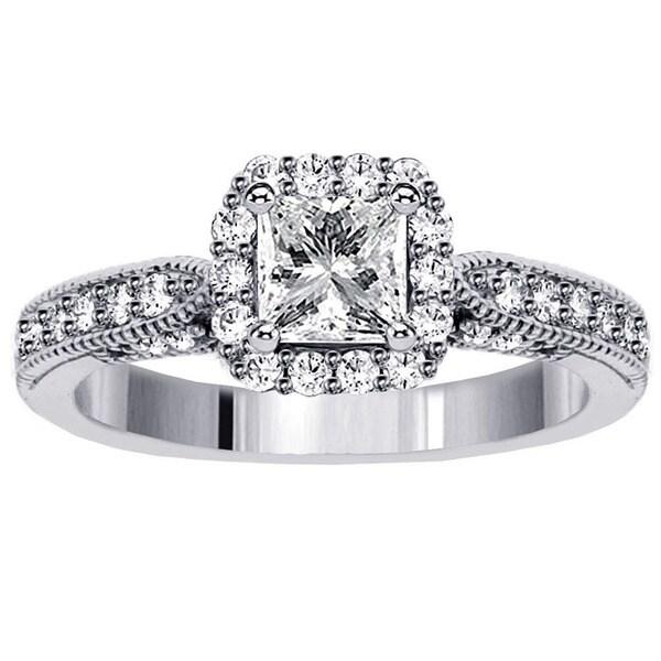 14k White Gold 1 2/5ct TDW Diamond Halo Engagement Ring (F-G, SI1-SI2)