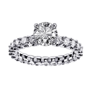 14k White Gold 2 7/8 CT TDW Clarity Enhanced Brilliant Solitaire Diamond Engagement Ring