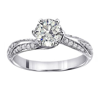 14k White Gold 1 4/5ct TDW Clarity Enhanced Round Diamond Engagement Ring