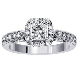 14k White Gold 1 3/4ct TDW Clarity Enhanced Diamond Halo Engagement Ring (F-G, SI1-SI2)