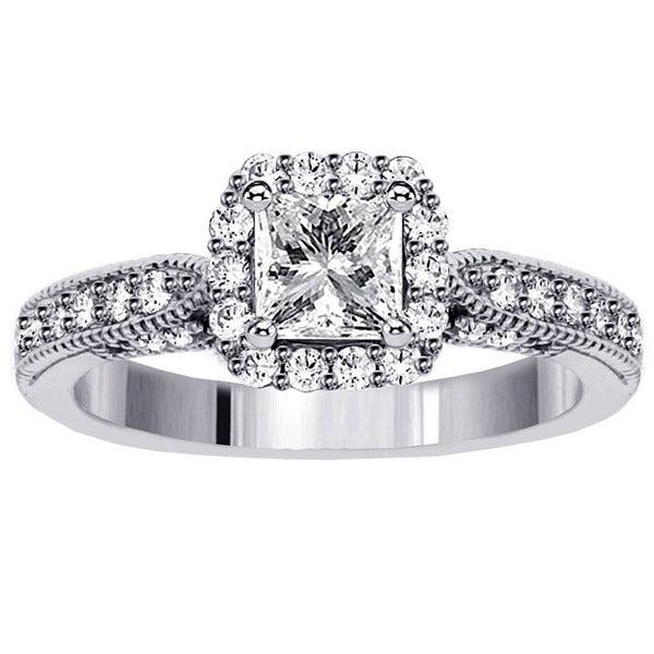 14k White Gold 1 3/4ct TDW Clarity Enhanced Diamond Halo Engagement Ring (F-G, SI1-SI2)