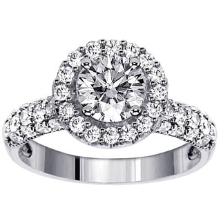 14k White Gold 2 1/5ct TDW Clarity Enhanced Round Brilliant Pave Band Diamond Ring (F-G, SI1-SI2)