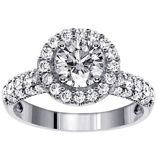 14k White Gold 2 1/5ct TDW Round Brilliant Pave Band Diamond Ring (F-G, SI1-SI2)