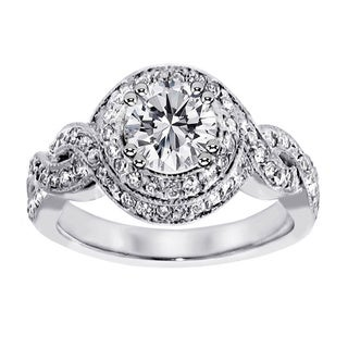 14k White Gold 2.25ct TDW Clarity Enhanced Braided Halo Diamond Engagement Ring