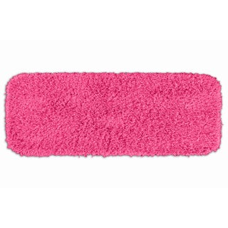 Quincy Super Shaggy Pink Washable Bath Runner