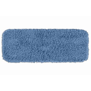 Quincy Super Shaggy Cool Blue Washable Runner Bath Rug