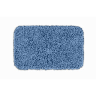 Quincy Super Shaggy Cool Blue Washable 24x40 Bath Rug