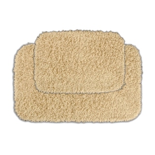 Quincy Super Shaggy Sand Washable 2-piece Bath Rug Set