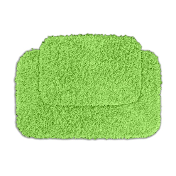Lime Green Contour Rug: Somette Quincy Super Shaggy Lime Green 2-piece Bath Rug