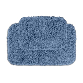 Quincy Super Shaggy Cool Blue 2-piece Bath Rugs Set