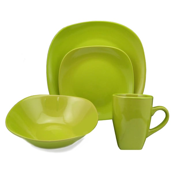 Lorren Home Trend 'Green' 16-piece Square Stoneware Dinnerware Set 11072913