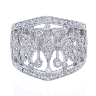 14k White Gold 7/8ct TDW Diamond Vintage Design Ring (H-I, SI1)