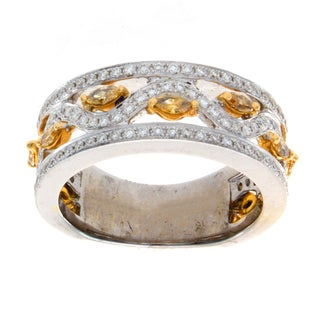 14k Two-tone Gold 7/8ct TDW White and Yellow Diamond Band (I-J, I1-I2)