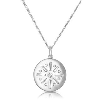 Eloquence 18k White Gold 7/8ct TDW Diamond Medallion Necklace (H-I, SI1-SI2)