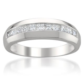 Men's 14k White Gold 1ct TDW Diamond Wedding Band (H-I, SI2-I1)