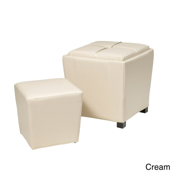 Metro Faux Leather Ottoman 2-piece Set