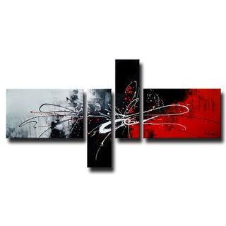 'Abstract 435' 4-piece Gallery-wrapped Hand Painted Canvas Art Set