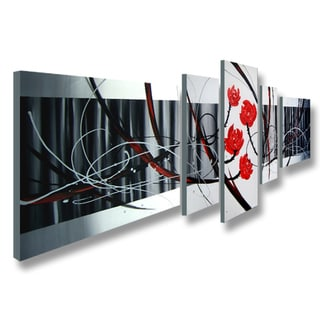 'Abstract 439' 4-piece Gallery-wrapped Canvas Art Set