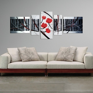 'Abstract 439' 4-piece Gallery-wrapped Hand Painted Canvas Art Set