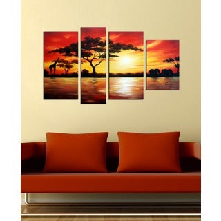'African Scenery' 4-piece Gallery-wrapped Hand Painted Canvas Art Set
