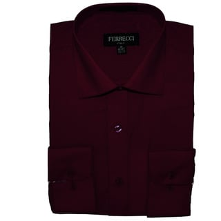 Ferrecci Men's Slim Fit Burgundy Collared Dress Shirt