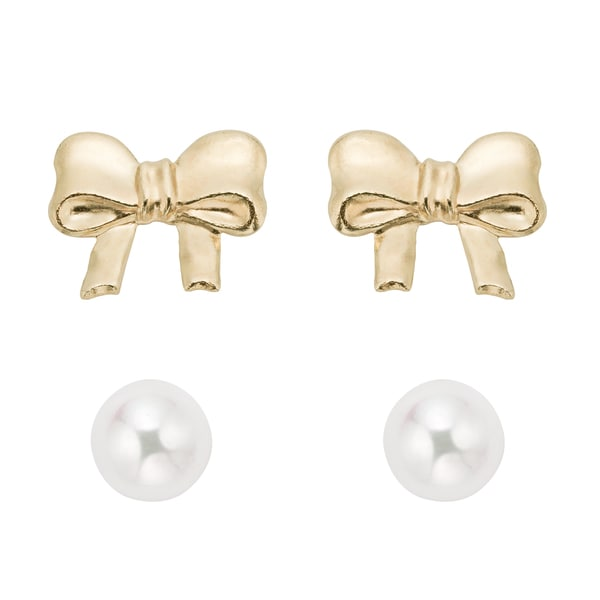 Pearlyta 14k Gold Freshwater Pearl Stud and Bow Earring Set with Gift Box (4-5 mm)
