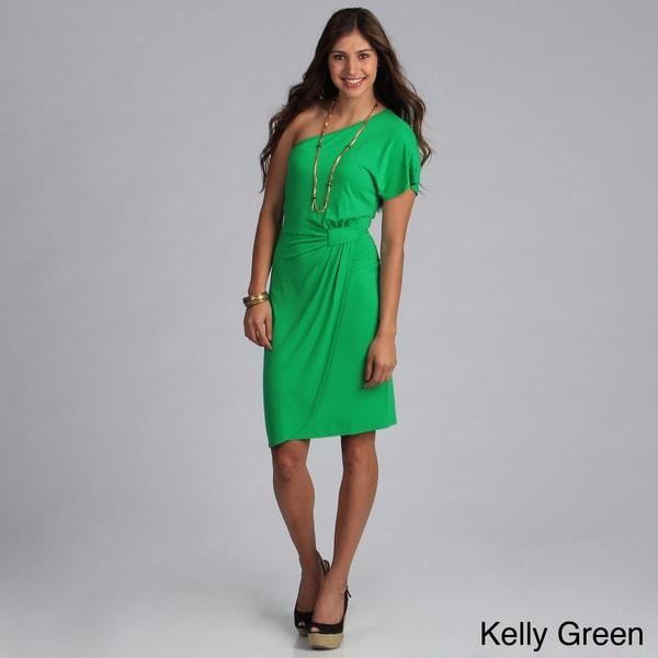 Biacci Women's Solid One-shoulder Knit Dress
