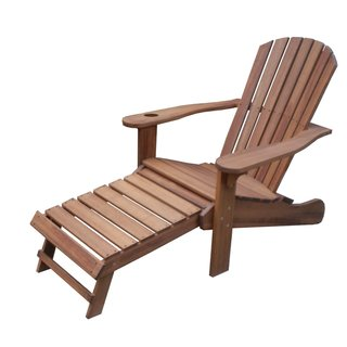 Eucalyptus Adirondack Chair with Drink Holder and Built-in Ottoman