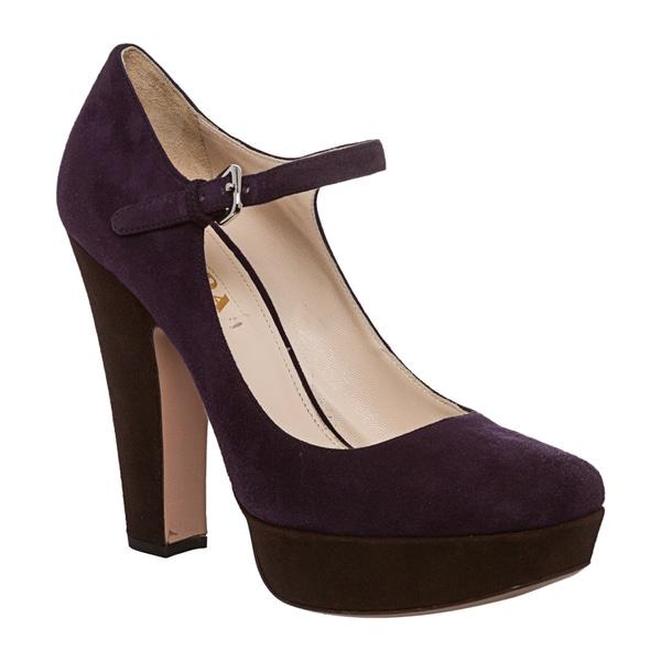 Prada Women's Purple Suede Platform Mary Jane Pumps