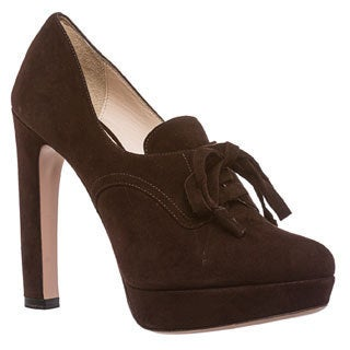 Prada Women's Brown Suede Platform Oxford Heels