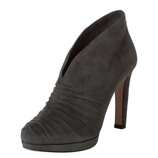 Prada Women's Grey Suede Ruched Ankle Booties