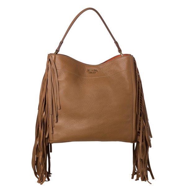 Prada \u0026#39;Cervo\u0026#39; Camel Leather Fringe Hobo Bag - 15342345 - Overstock ...