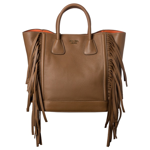 prada camel leather bag
