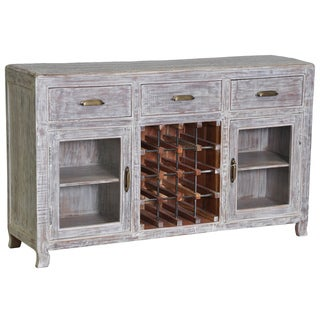 Cosmo Antique Grey Wine Cabinet