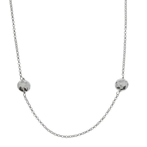 La Preciosa Sterling Silver Hammered Discs Necklace