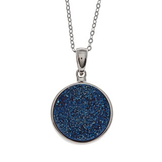 La Preciosa Sterling Silver Blue Druzy Quartz Necklace