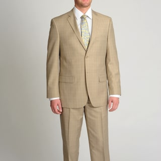 Circola Moda Men's Modern Fit Tan Plaid 2-piece Suit