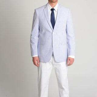 Adolfo Men's Blue and White Seersucker Sport Coat
