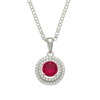 Sterling Silver Simulated Ruby and Cubic Zirconia Double Halo Necklace