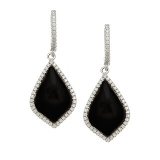 Sterling Silver Simulated Black Agate and Cubic Zirconia Earrings