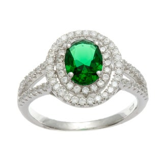 Sterling Silver Simulated Emerald and Cubic Zirconia Double Halo Ring