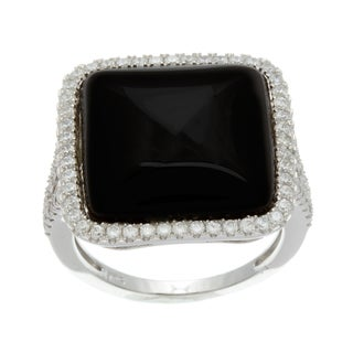 Sterling Silver Simulated Black Agate and Cubic Zirconia Ring
