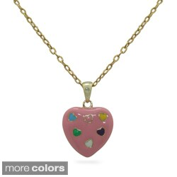 Junior Jewels 18k Gold Overlay Children's Enamel Heart of Hearts Necklace