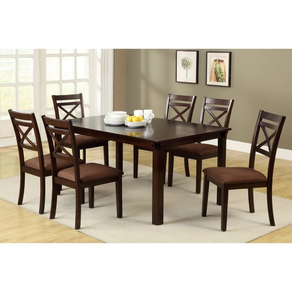 dietric espresso finish 7 piece dining set table room chairs piece