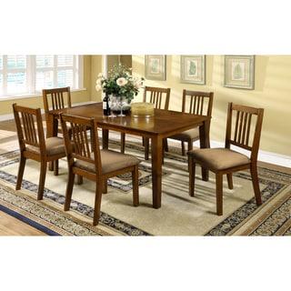 Furniture of America Nalaya Dark Oak Transitional 7-piece Dining Set