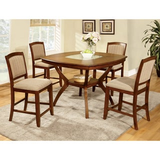 Jalayan Counter-height Crack Glass Insert 5-piece Dining Set