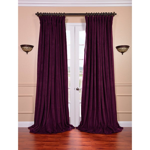 eggplant velvet blackout extra wide curtain panel overstock shopping great deals on eff curtains. Black Bedroom Furniture Sets. Home Design Ideas